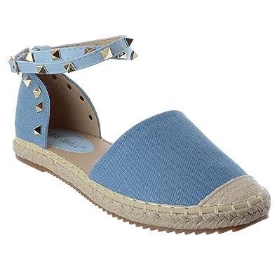 9aec0587a11a4 WOMENS LADIES FLAT ANKLE STRAP STUDDED SUMMER ESPADRILLES SANDALS SHOES  SIZE  Blue Denim   Rock Stud UK 4   EU 37   US 6   Amazon.co.uk  Shoes    Bags
