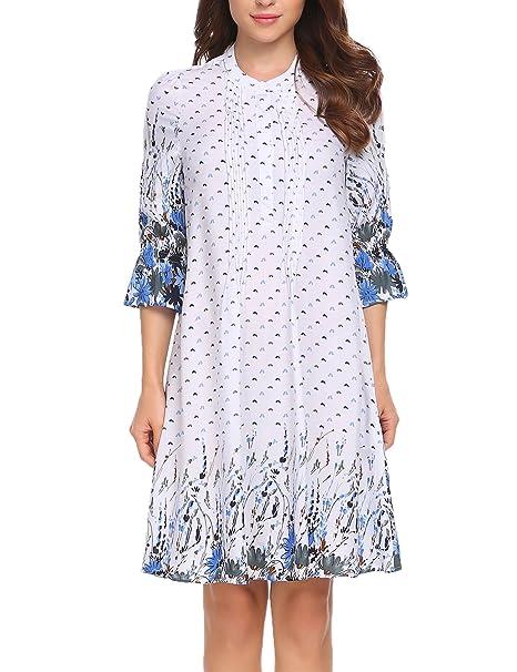 27431037b317cb Meaneor Damen Elegant Langarm Abendkleid Blusenkleid Casual Kleid Blumen  Muster Rundhals Baumwolle Knielang