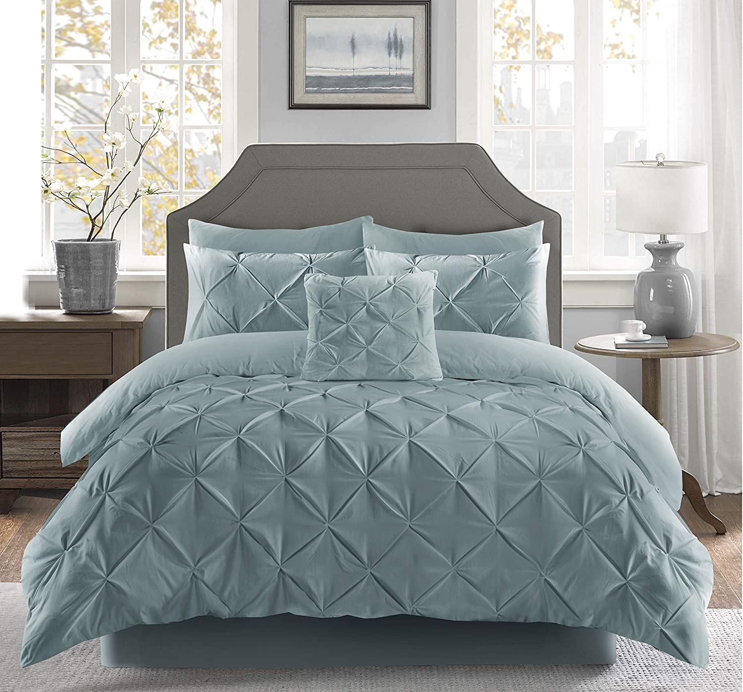 Fixtex Pinch Pleat Pintuck Duvet Cover Set with Fitted Sheet /& Pillow Cases Includes Complementary Cushion Cover Set of 5 Duck Egg, Double