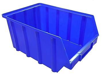 10 Stapelboxen Kunststoff PP Gr.2 blau Sichtlagerkästen Stapelkästen