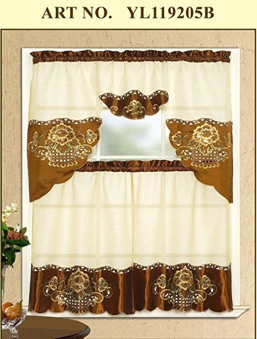 prodigious Brown Tier Curtains Part - 14: Amazon.com: 3 Piece Beige with Brown Embroidered Sparkle Flower Lace  Kitchen-cafe Curtain Tier and Swag Set: Home u0026 Kitchen