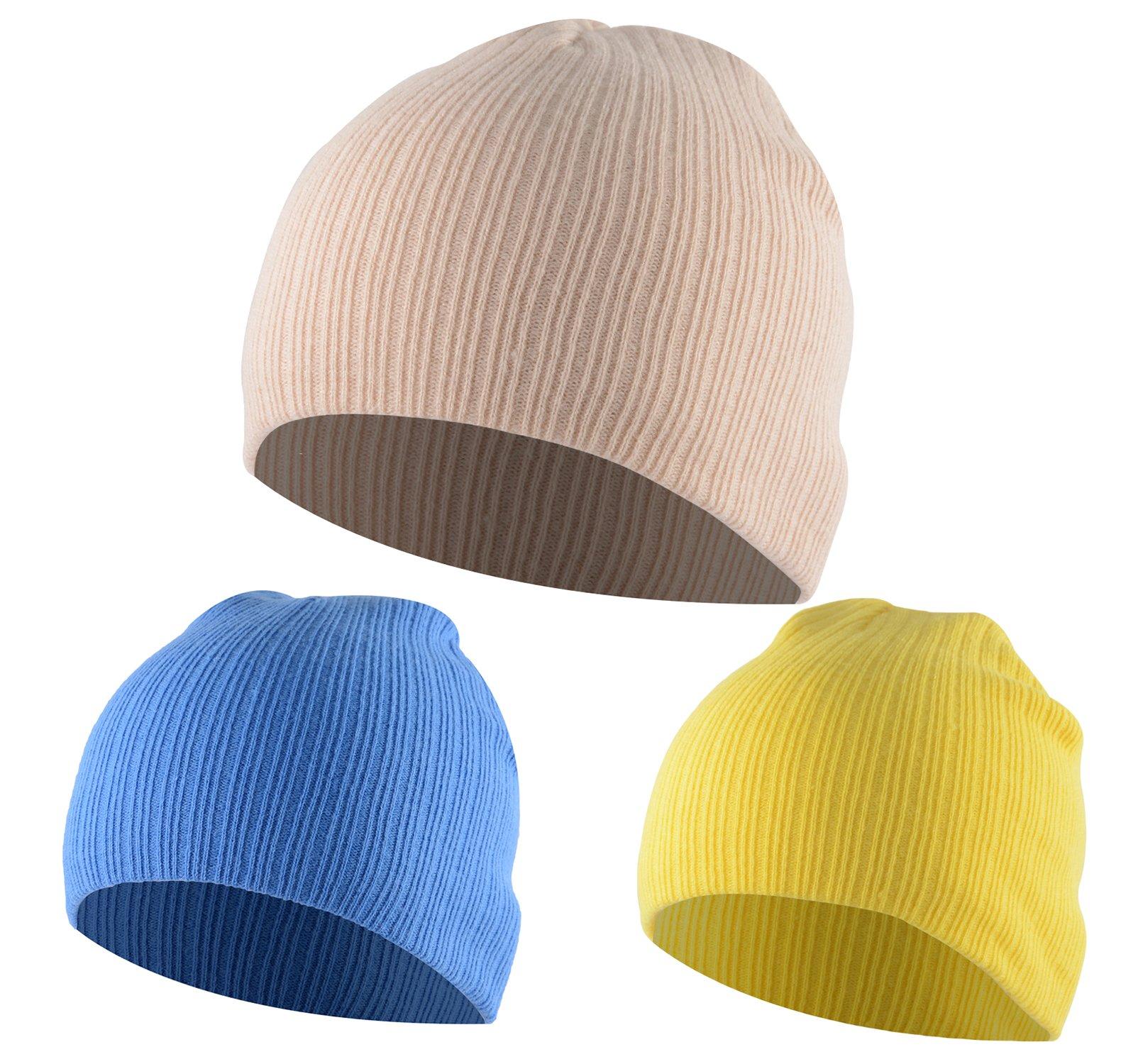 American Trends Unisex Baby Newborns Knitted Caps Cute Soft Toddler Cotton Beanies Winter Warm Hat 3 Pack Bright Yellow Dark Blue Beige