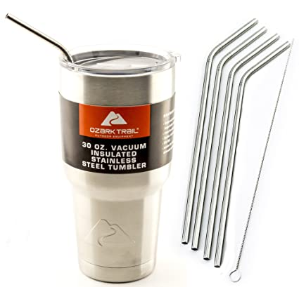 CocoStraw 4 Bend Stainless Steel Straws Ozark Trail 30-Ounce Double-Wall  Rambler Vacuum Cups Brand Drinking Straw (4 Bend Straws 30oz)