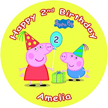 Terrific Peppa Pig Cake Topper Personalised Edible Icing Round Other Funny Birthday Cards Online Overcheapnameinfo