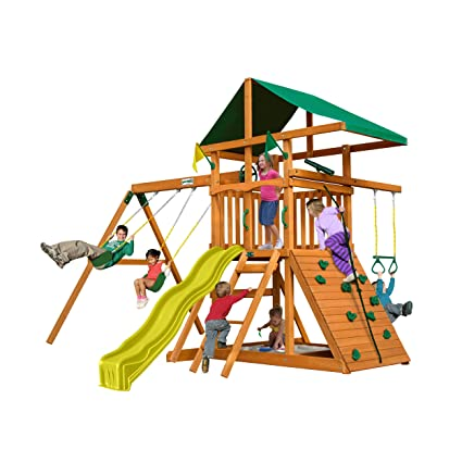 Amazon Com Outing Play And Swingsets With Wave Slide Two Swings