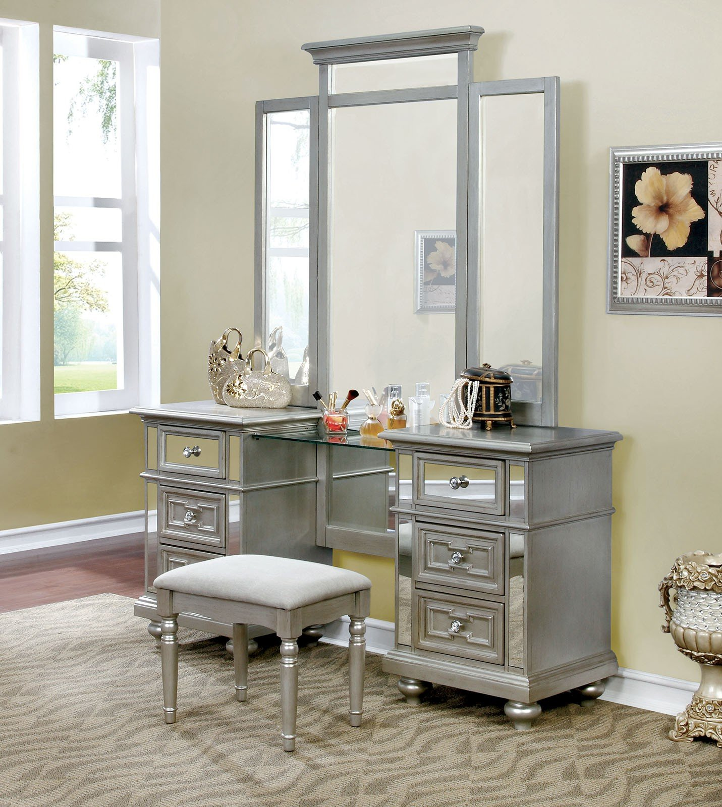 Sophia Mirrored 3 Piece Vanity Make Up Table, Mirror & Bench in Silver Champagne by FA Furnishing