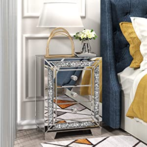 Night Stand with 3 Drawers, Sparkly Mirrored Crushed Crystal Modern Beside Table End Table for Bedroom, Living Room, Office