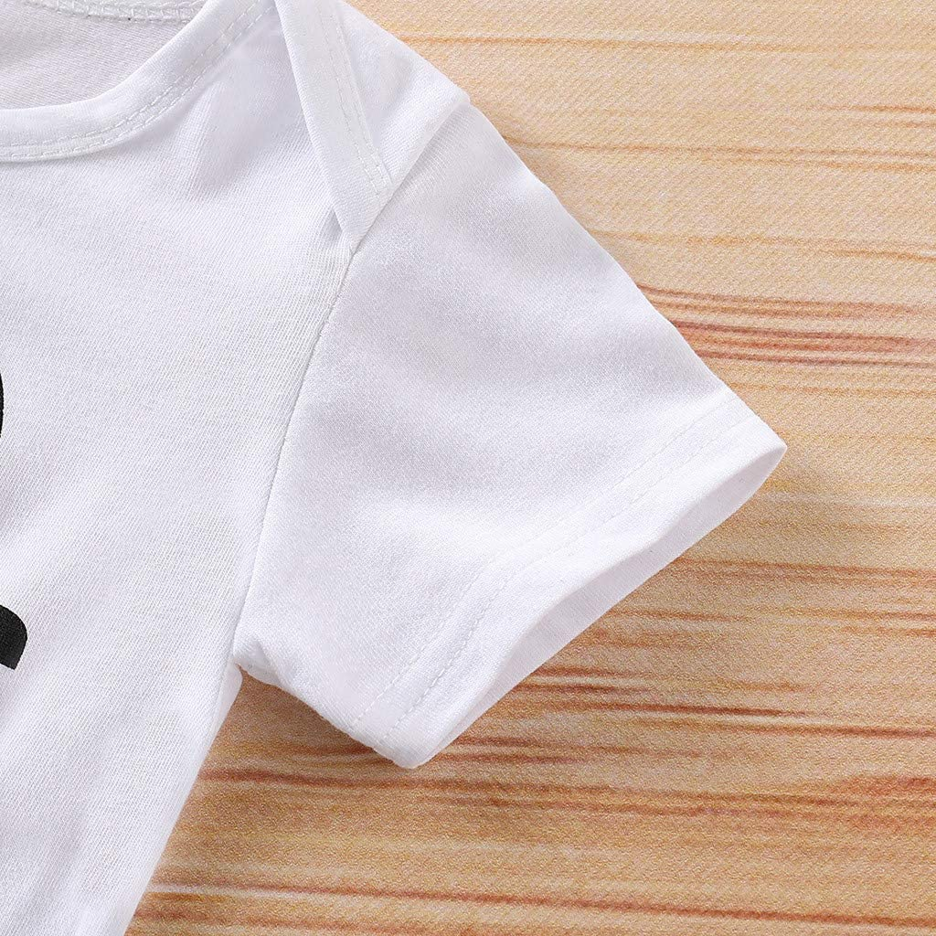 LiLiMeng Newborn Infant Baby Girl Boy Short Sleeve Letter Print Romper Bodysuit Clothes Outfits