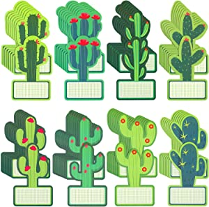 64 Pieces Cactus Cutouts Bulletin Board Decor Cactus Name Tags Stickers Cactus Theme Labels for Classroom Bulletin Board Decorations