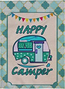 "pingpi Happy Camper Double Sided Burlap Garden Flag 12.5""x18"""