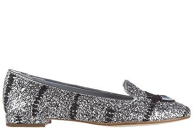 Women's Ballet Flats Ballerinas Glitter Mascara Silver