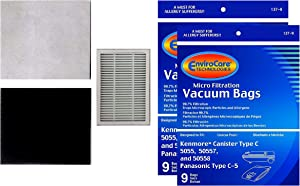 EnviroCare Replacement Micro Filtration Vacuum Bags for Kenmore Canister Type C or Q 50555, 50558, 50557 and Panasonic Type C-5 18 Pack. Also Includes 1 EF-2 Filter and 2 CF-1 Filters