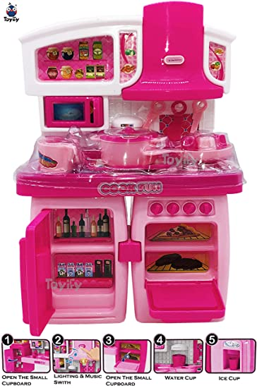 Buy Toyify My First Happy Kitchen Girl S Convertible And Modern Small Size Kitchen Toy Set With Light And Sound Including Many Interesting Kitchen Accessories Online At Low Prices In India Amazon In