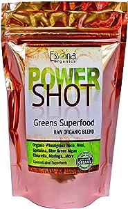100% Pure - RAW Organic Vegan - Power Shot Greens Superfood Blend - Spirulina, Chlorella, Wheat Grass, Blue-Green Algae, Moringa + - 60 Servings from Essona Organics, Powder - 180 GMS. Order Today!