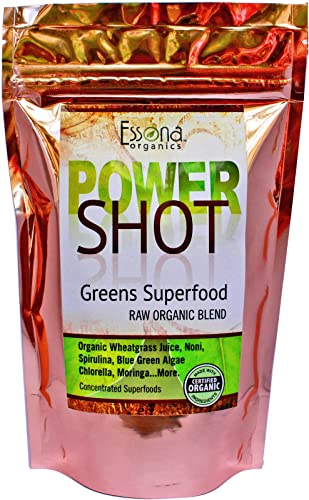 100 Pure – RAW Organic Vegan – Power Shot Greens Superfood Blend – Spirulina, Chlorella, Wheat Grass, Blue-Green Algae, Moringa – 60 Servings from Essona Organics, Powder – 180 GMS. Order Today