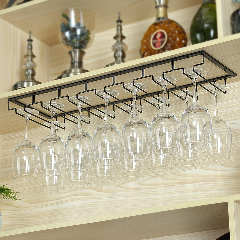 3-7 Schlitze f/ür 6-16 Tassen 3 Slots 6 Cups Stahl AcornFort W16 Easy DIY Weinbecherhalter Schwarz