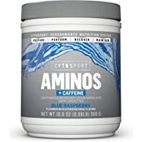 Cytosport Aminos + Caffeine, Caffeinated Branched Chain Amino Acid Supplement Mix, Blue Raspberry, 125mg Caffeine, NSF…