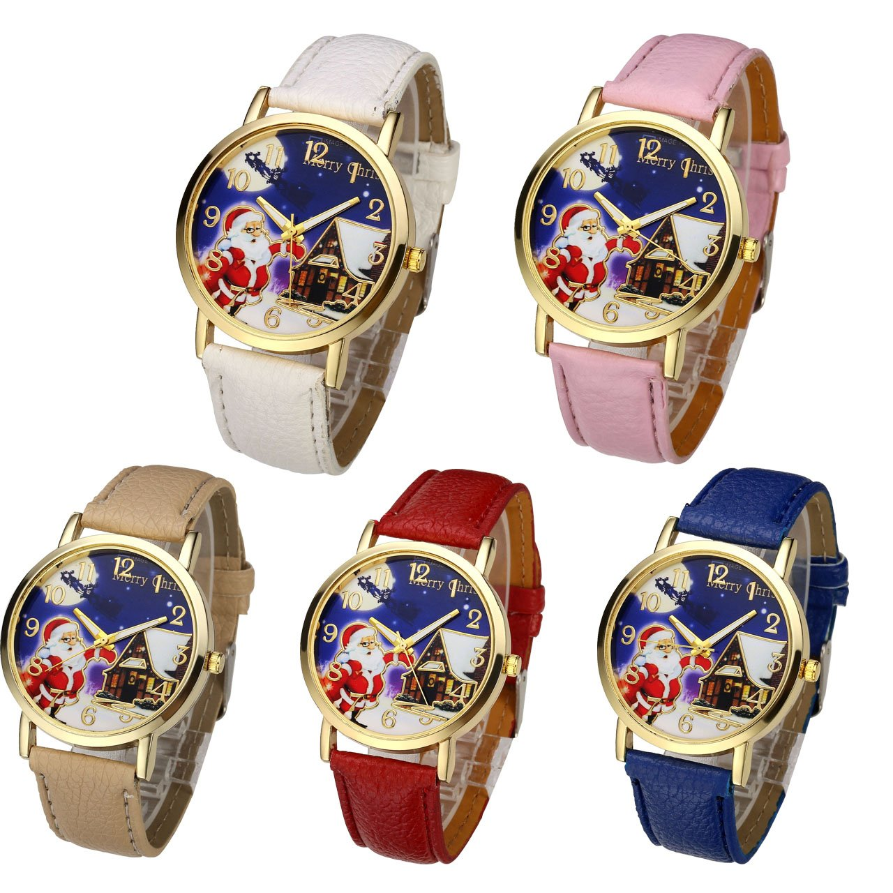 Top Plaza Cute Casual Father Christmas Analog Quartz Watch Santa Claus Pattern PU Leather Band Arabic Numerals Wrist Watch for Kids Children #5(Pack of 5)