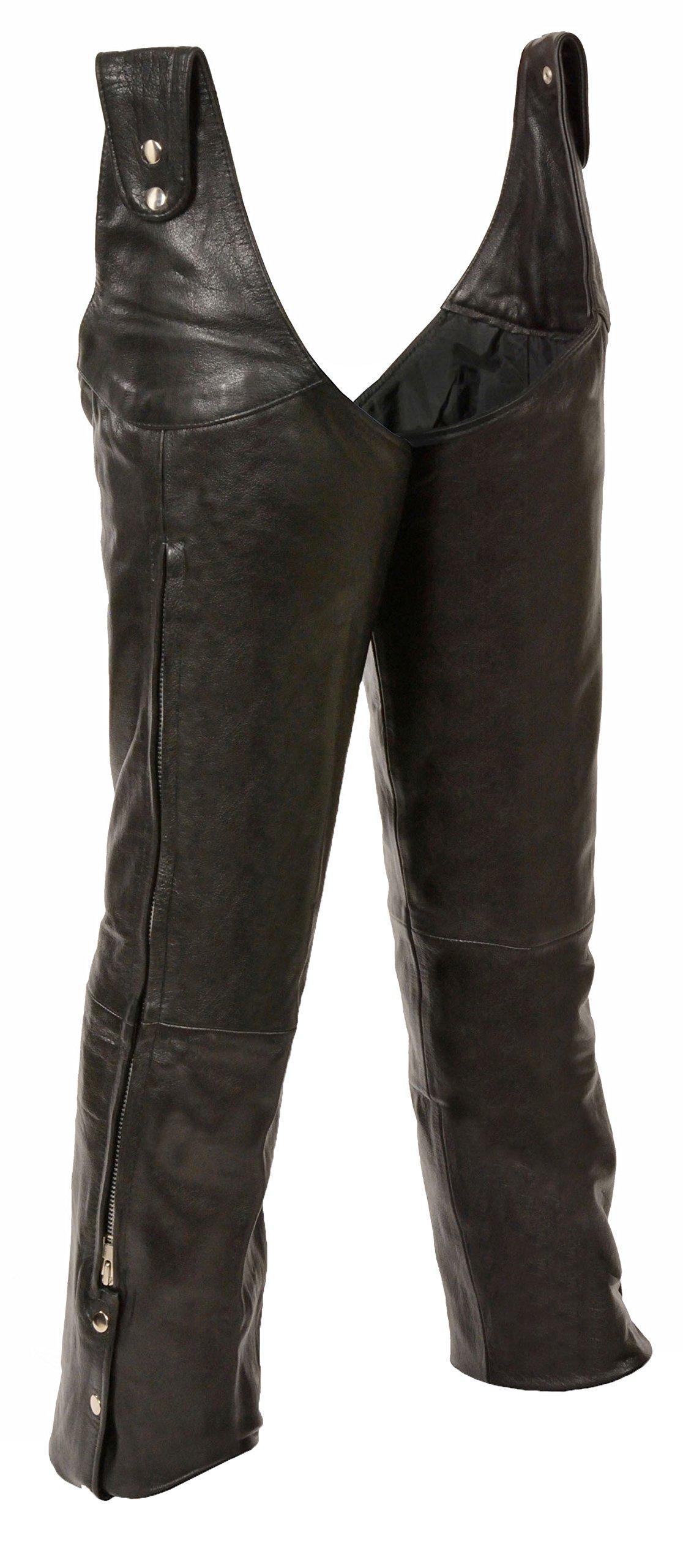 Mens Leather Beltless Adjustable Side Snap Chaps, Black Size S