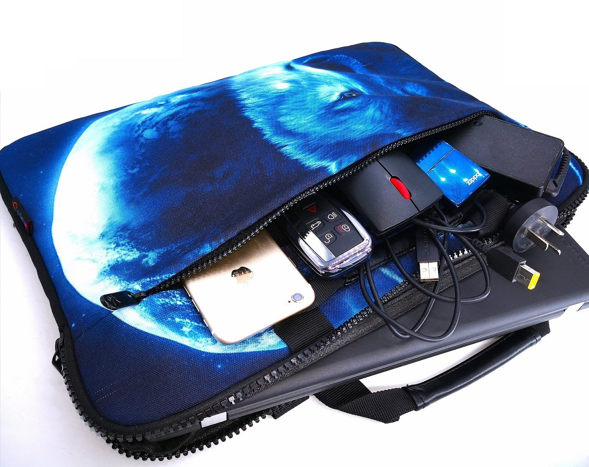 iColor 15'' Canvas Laptop Shoulder Messenger Bags 14'' 15.4 Inch Briefcase 15.6'' Computer PC Notebook Tablet Handle Cases Carrying Sleeve Cover Holder (14''~15.6'', Cool Wolf) by iColor (Image #6)