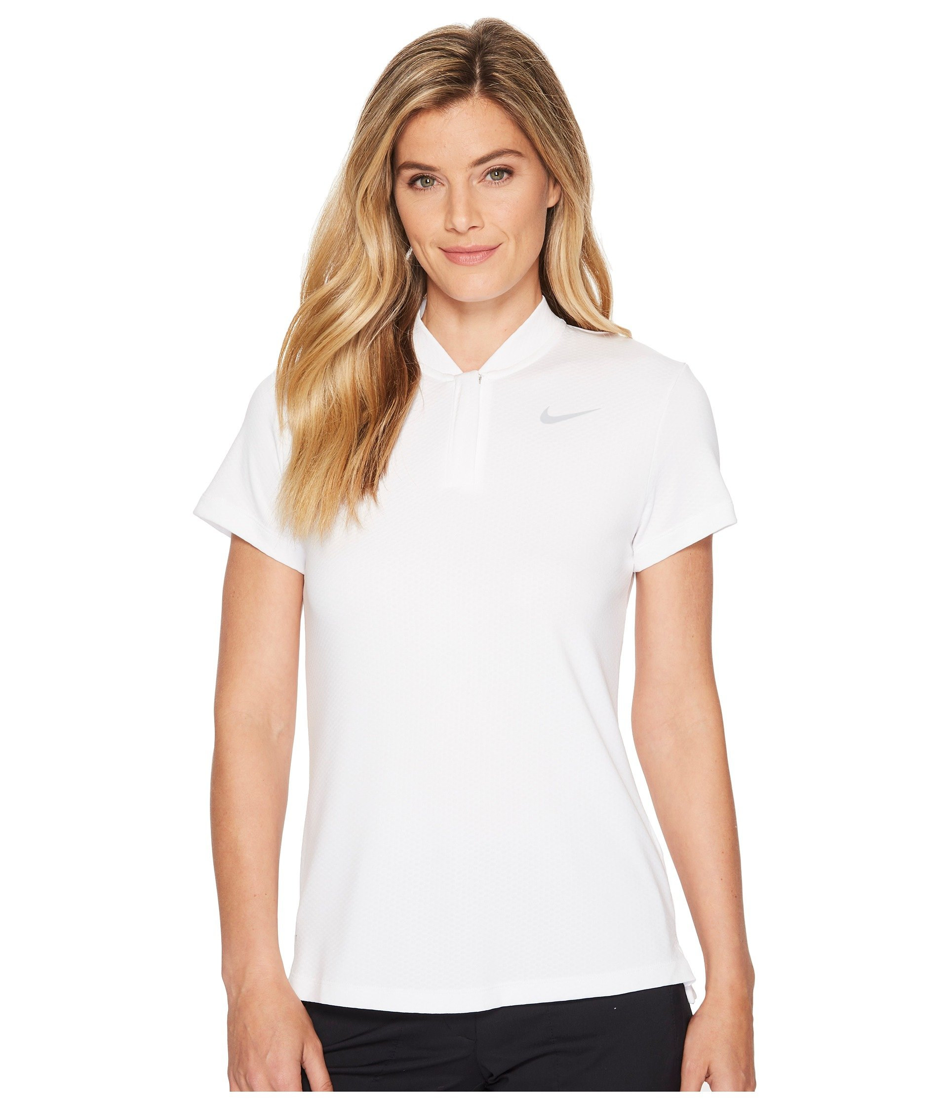 NIKE Women's Dry Short Sleeve Blade Golf Polo, White/Flat Silver, X-Small