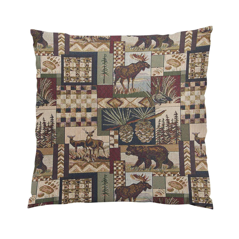 Suike Lodge Cabin Plush Hidden Zipper Home Sofa Decorative Throw Pillow Cover Cushion Case Square 20x20 Inch Two Sides Design Printed Pillowcase