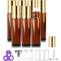 Glass Roller Bottles for Essential Oils, Gift Box Package per Bottle, Stainless Steel Roller, Opener, Adhesive Labels, Droppers n Funnels Included, Handy Picks (7 Pack, Amber)