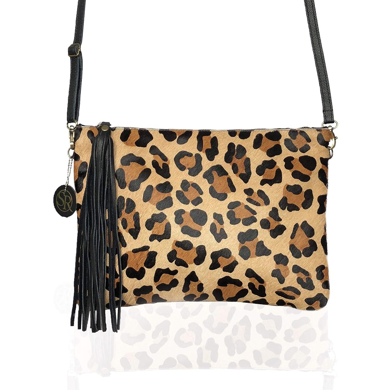 9c3118d004ec Amazon.com: USA Made, Leopard Print Hair On Hide Clutch, Crossbody, Fold- over, With Removeable Crossbody Strap: Handmade