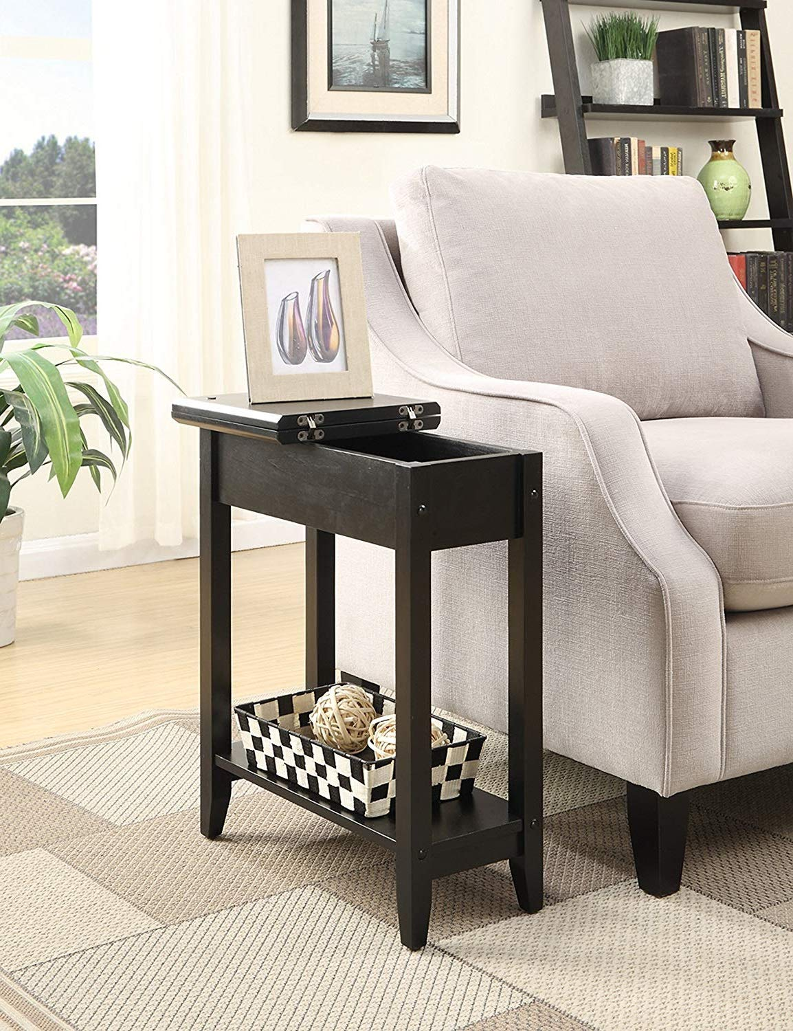 Flip top slim tall end table space saver wooden narrow with storage shelf living room nightstand chairside bedside sofa table phone stand hallway home