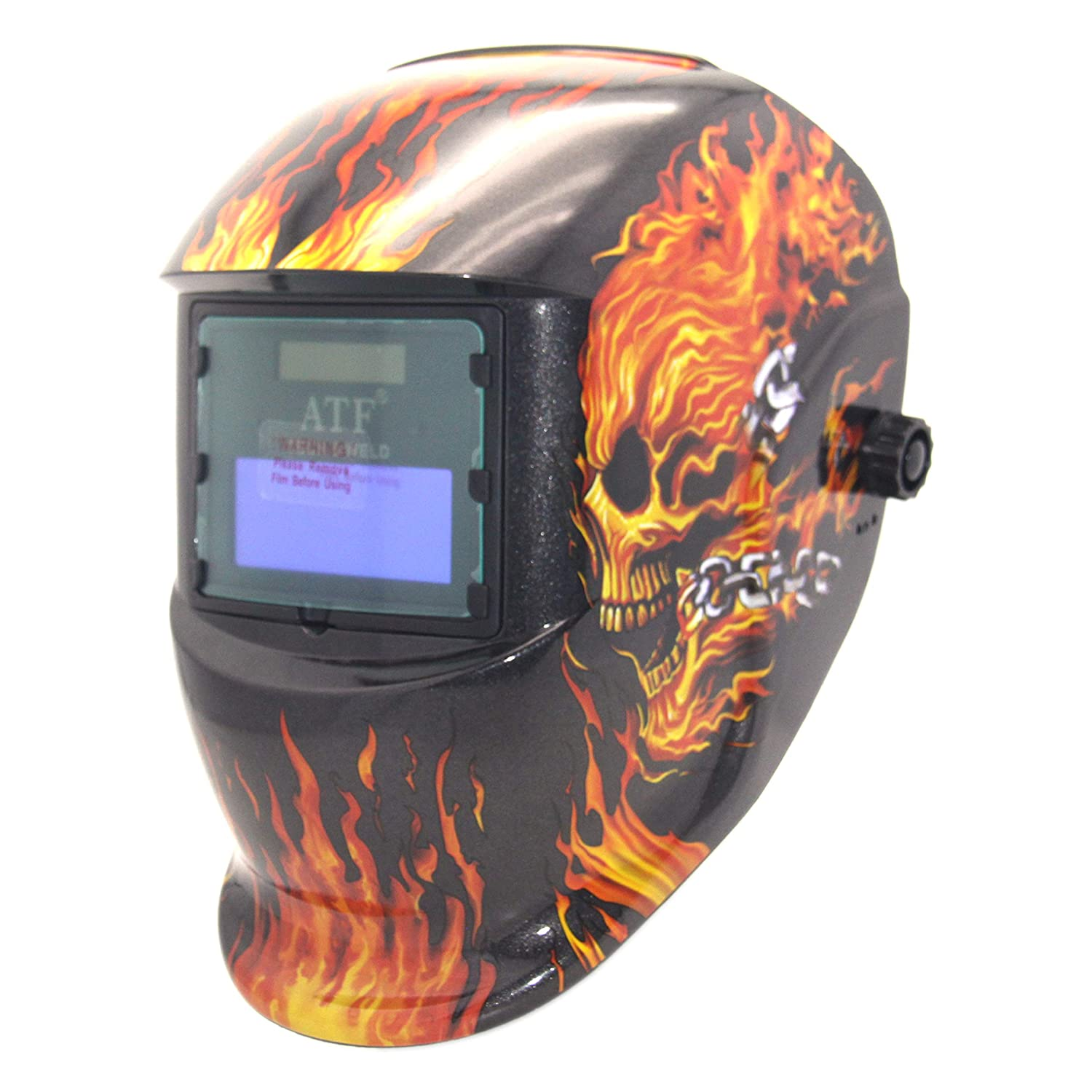 ATF Auto Darkening Welding Helmet Solar Powered Weld Hood Devil Flame for MMA TIG MIG MAG ARC Welding Optical Class 1 1 1 1 View Area. 3.54x1.39Viewing Area with 1PC Spare Cover Lens