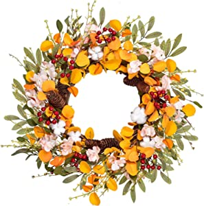 Artiflr 20 inch Fall Wreath for Front Door with Hydrangea Floral,Cotton, Pine Cone,Berries, Eucalyptus and Olive Leaves, Harvest Door Wreath for Fall and Thanksgiving Decorations