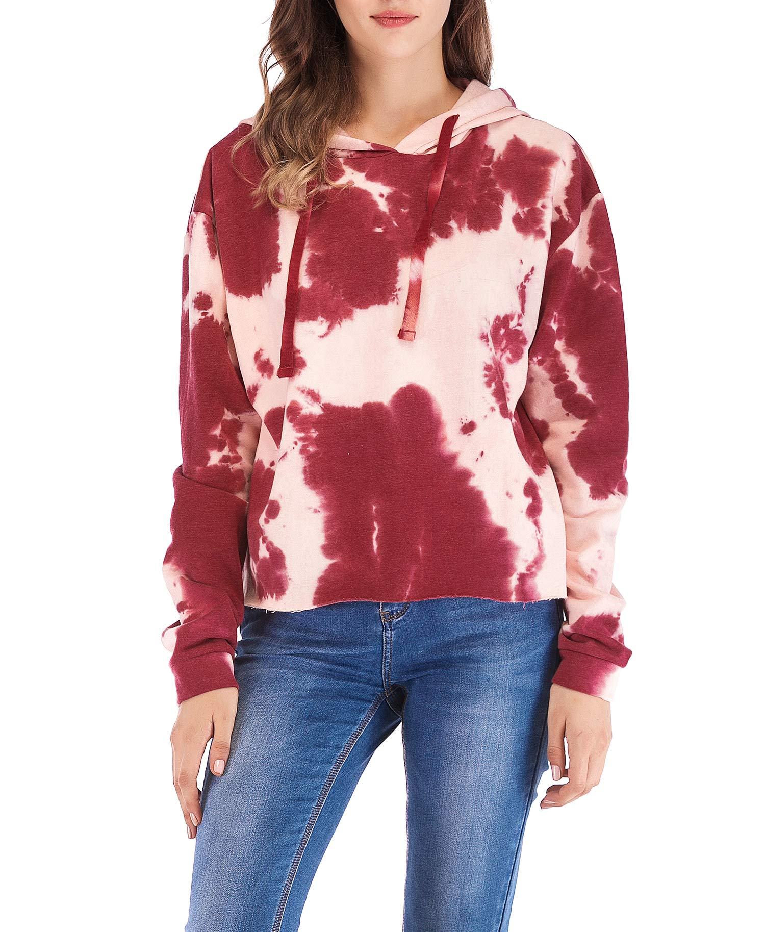 Eanklosco Womens Casual Long Sleeve Tie Dye Hoody (Red, L)