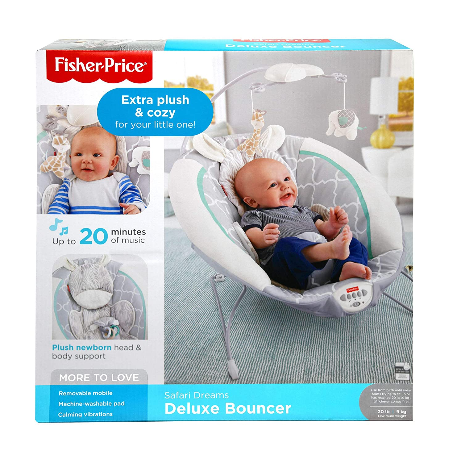 5214d3946 Amazon.com   Fisher Price Safari Dreams Deluxe Bouncer