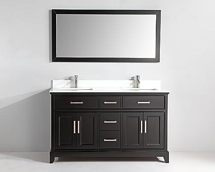 60 inch black bathroom vanity. Vanity Art 60 Inch Bathroom Set With Super White Phoenix Stone  Free Mirror VA1060