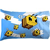 Jay Franco Minecraft Busy Working Bees 1 Pack Pillowcase - Double-Sided Kids Super Soft Bedding (Official Minecraft Product)