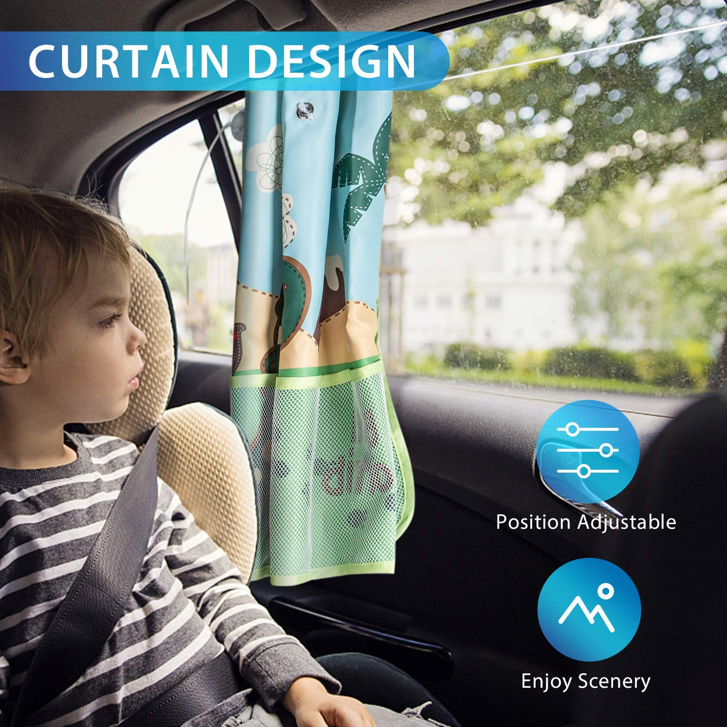Easy Install Hand-in-Hand Fit Most Cars Car Window Sun Shades for Baby with Practical Pockets Protect Your Kids from UV