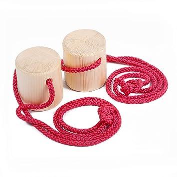Sport-Thieme Topfstelzen aus Holz mit Sisalseilen | Stabile Becherstelzen, Dosenstelzen, Laufstelzen | Bis 150 kg belastbar |