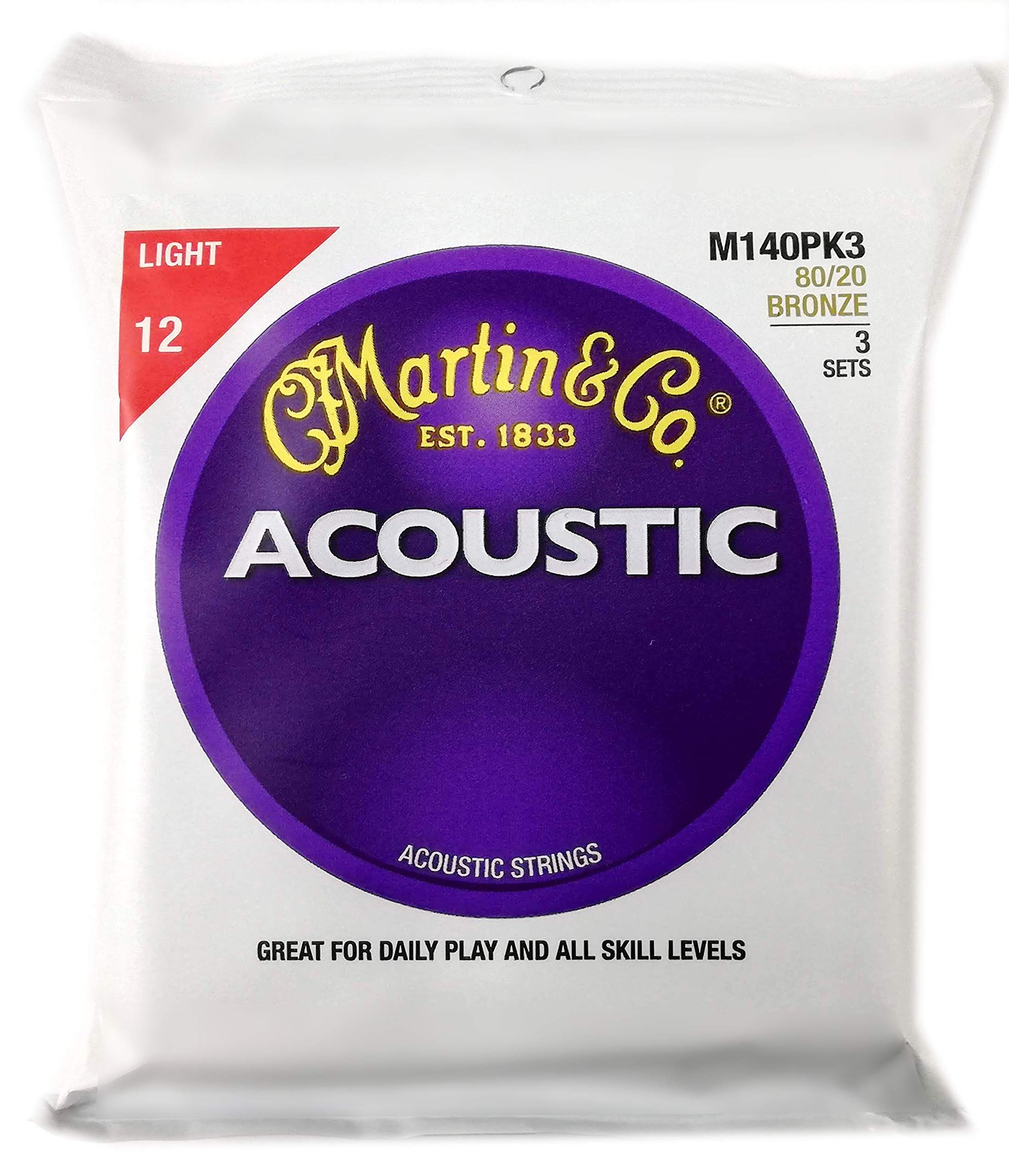 Martin M140 80/20 Acoustic Guitar Strings, Light 3 Pack by Martin