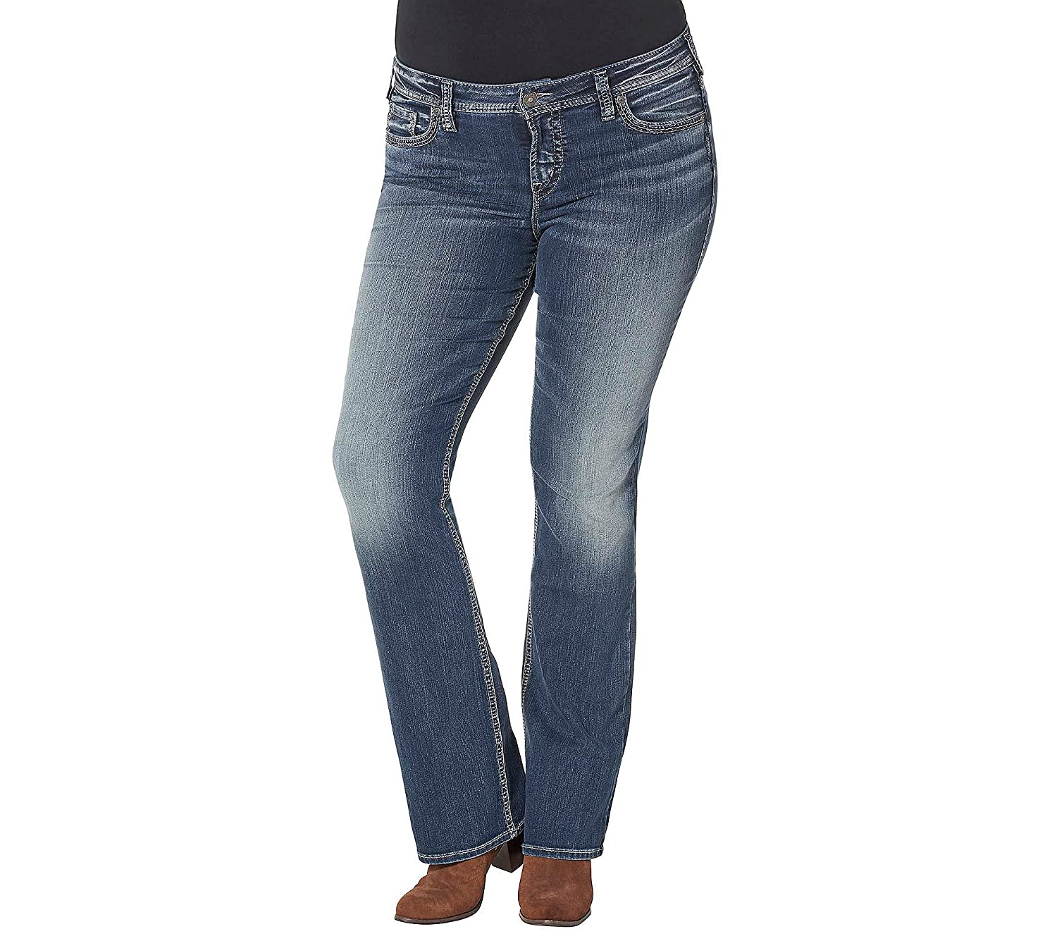Silver Jeans Co. Plus Size Aiko Mid Rise Bootcut Jeans good