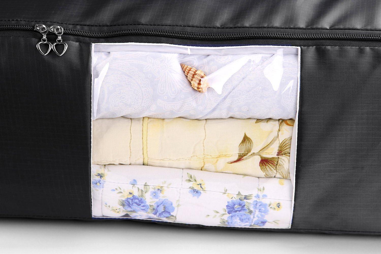 Noir EVST Sac de rangement sous v/êtement de lit sac de rangement en tissu Oxford Plaid