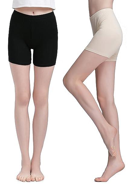 4457b2eef283 Vinconie Women Short Leggings Under Dress Pants Yoga Tights Boy Shorts 2  Pack