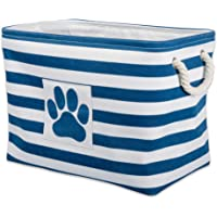 Bone Dry Stripes with Paw Patch Collapsible Polyester Pet Storage Bin, Rectangle Small-14 x 8 x 9, Navy