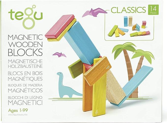 Tegu Juego de Bloques de Construcción de madera magnéticos de 14 piezas - Tintes , color/modelo surtido