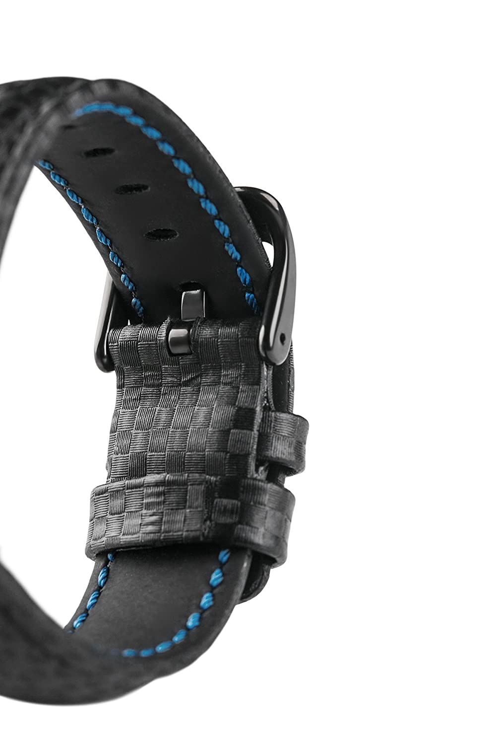 Signature Carbon watch band. Replacement watch strap. Genuine leather. Silver Buckle (24 mm, Black - Black Buckle) | Amazon.com