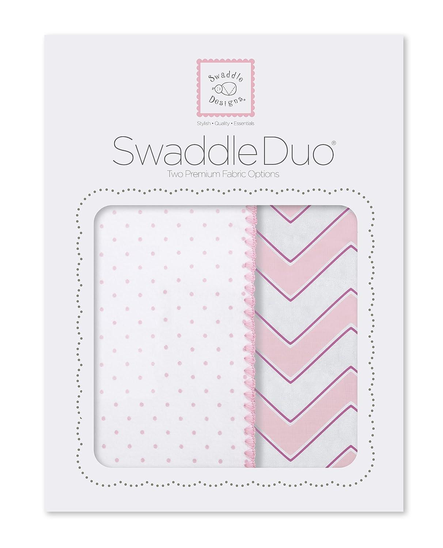 SwaddleDesigns SwaddleDuo, Classic Chevron, Blue, Set of 2, Cotton Muslin + Premium Cotton Flannel