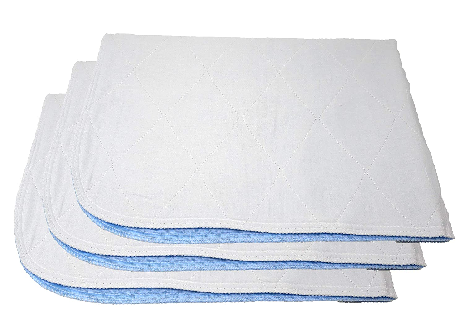 "Premium Incontinence Washable Bed Pad - Heavy Duty Reusable Cotton Quilted Underpad - 34""X35"" - 3 Pack"