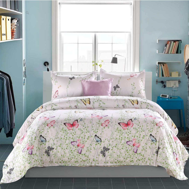 LAMEJOR Duvet Cover Set Queen Size Butterfly Pattern Luxury Bedding Set Comforter Cover(1 Duvet Cover+2 Pillowcases White