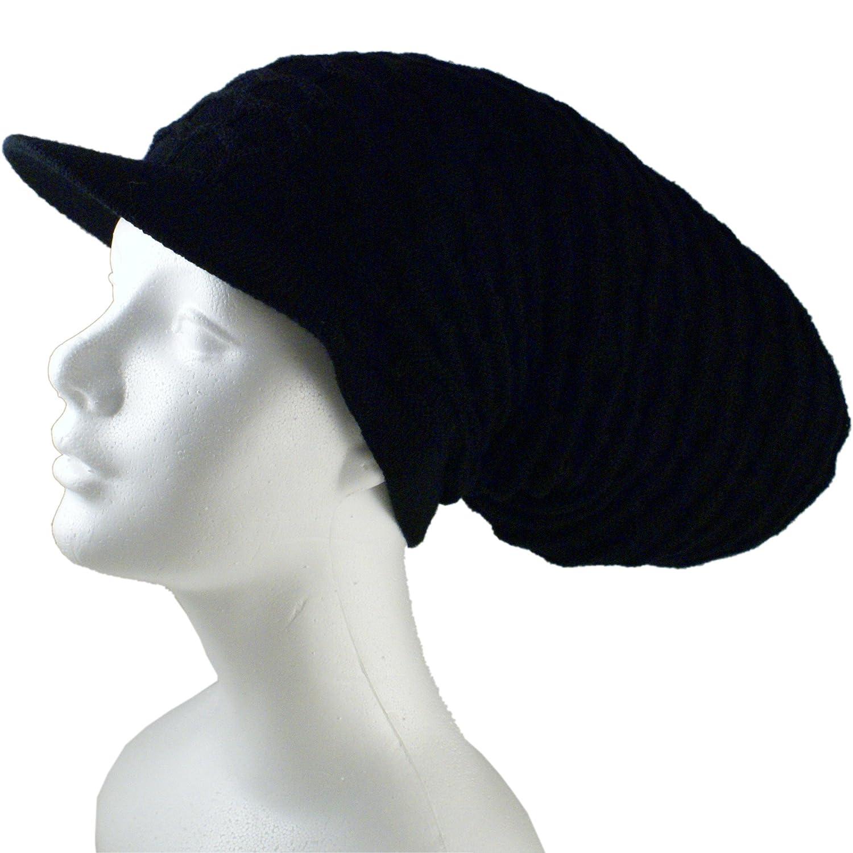 c2c0a83a4b5 Amazon.com  Shoe String King SSK Rasta Knit Tam Hat Dreadlock Cap (Large  Round Blk Red YEL GRN w Brim)  Clothing