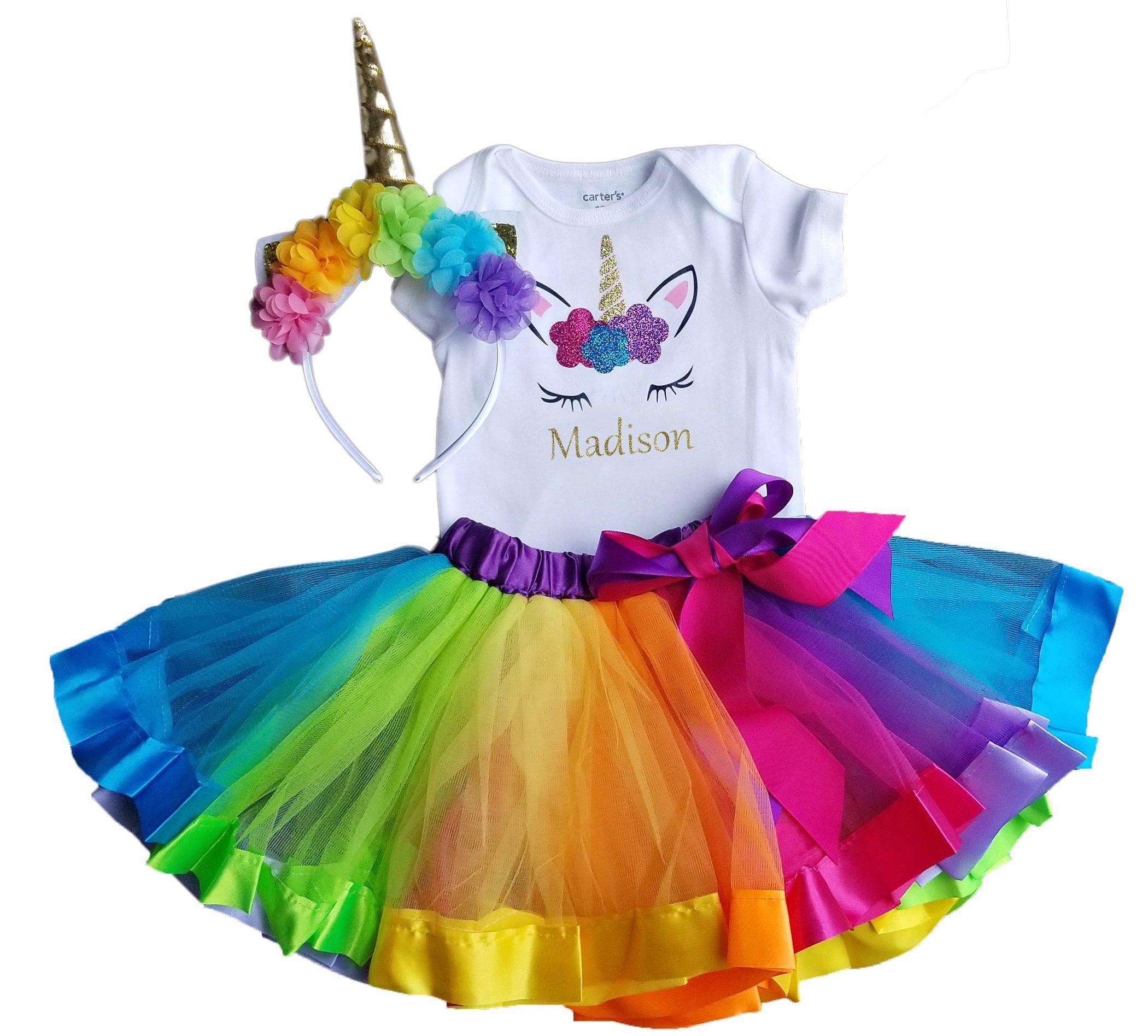 9b1710249 1st Birthday Girl Unicorn Rainbow Outfit