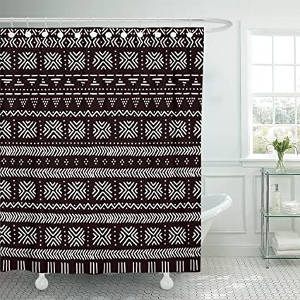 Emvency Shower Curtain Brown Mud Black And White Striped Traditional African Mudcloth Abstract Boho Waterproof Polyester